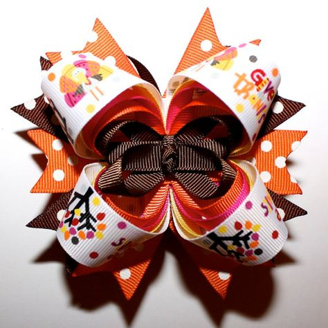 Handmade Fall ~Thanksgiving ~Turkey Inspired Stacked Boutique Hair Bows