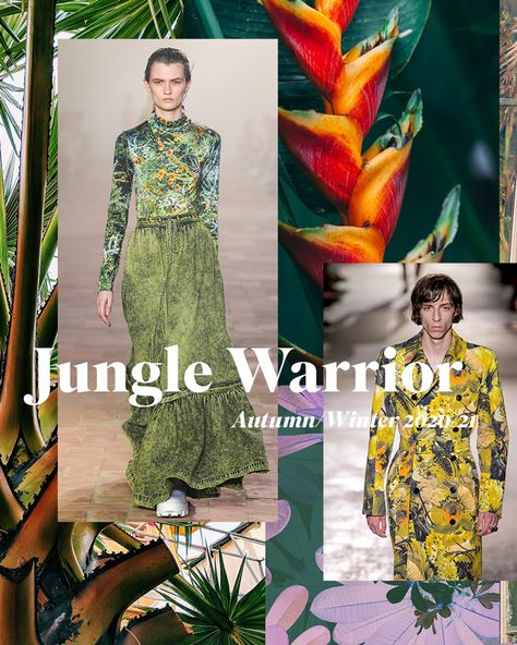 Jungle camouflage covers in rich tonal colours bring a tropical vibe for this Autumn/Winter 20/21 trend. Enlarged flower heads and textured leaf patterns