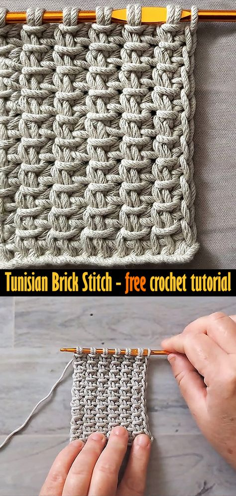 Don't know this Tunisian stitch yet? Learn it with simple crochet tutorial. Tunisian Crochet Blanket, Tunisian Crochet Patterns, Crochet Crafts, Crochet Yarn, Easy Crochet, Crochet Pattern Free, Stitch Crochet, Crochet Instructions, Brick Stitch