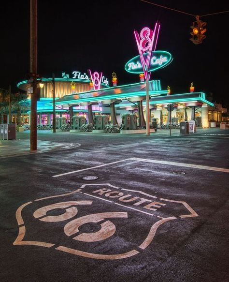Flo's Café on Route 66 – Chris Marquez – – – Parks Disney Photo Wall Collage, Picture Wall, Photo Vintage, Retro Vintage, Route 66 Road Trip, Road Trips, Drive In, Usa Tumblr, Retro Aesthetic
