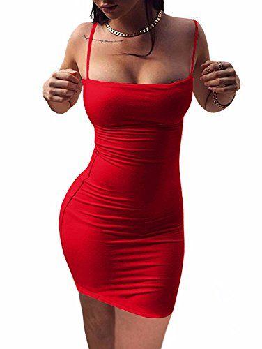 3bb036485df BEAGIMEG Women's Sexy Spaghetti Strap Sleeveless Bodycon Mini Club ...