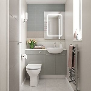 Wickes Vienna Grey Gloss On White Fitted Compact Toilet Unit 600mm Wickes Co Uk In 2020 Bathroom Units Wickes Compact Bathroom