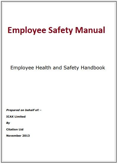 Employee Safety Manual Template Employee Handbook Template Manual