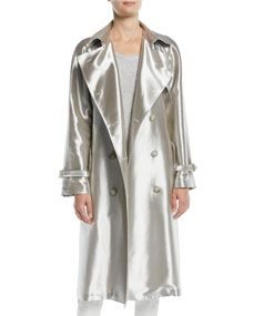53b68b523 Shop Sinclair Double-Breasted Belted Metallic Trench Coat from Ralph Lauren  Collection at Bergdorf Goodman, where you'll find free shipping on a  fantastic ...