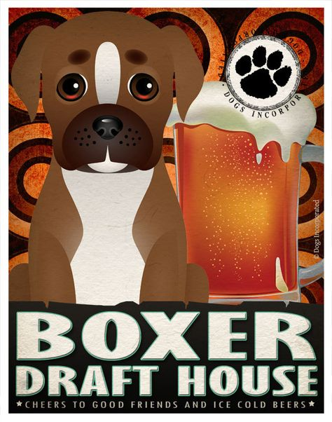 Boxer Drinking Dogs Original Art Poster Print  by DogsIncorporated, $29.00