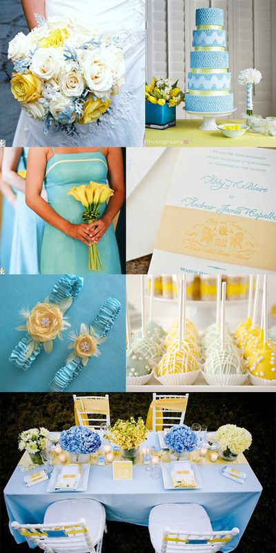 Blue and Yellow Wedding Centerpieces | Color Inspiration Baby Blue ...