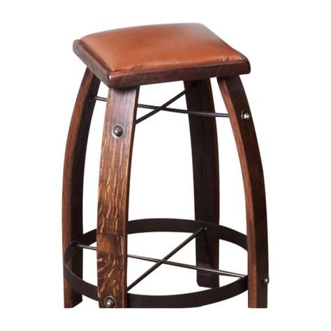 2 Day Designs Reclaimed 28 In Stave Bar Stool With Leather Seat Chocolate 818c28 Bar Stools Leather Stool Iron Bar Stools