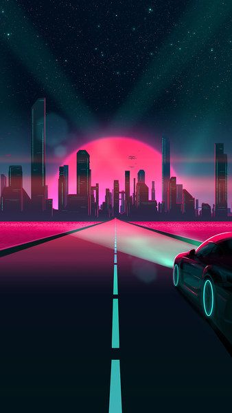 Neon City Night Sky Digital Art 4k Click Image For Hd Mobile And Desktop Wallpaper 3840x2160 1920 Vaporwave Wallpaper Live Wallpaper Iphone Retro Waves