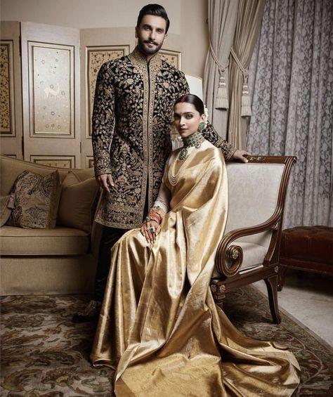 Deepika Ranveer Wedding Photos from Bangalore. Deepika Padukone in gold silk Kanjeevaram and Ranveer Singh in Rohit Bal black floral sherwani.