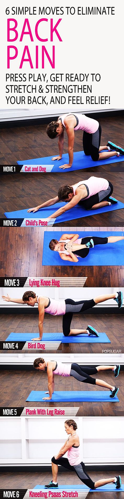 Don't let back pain keep you down! Here are six exercises that will keep your spine healthy and your core strong. This five-minute workout will teach you the essentials for maintaining a better back, from flexible hips to strong abs. Press play, get ready to stretch and strengthen your back, and feel RELIEF.