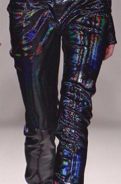 black holographic rainbow tint flashy holographic holographic leggings iridescent irregular futuristic future millonair fashion leggings pants jewels glitter