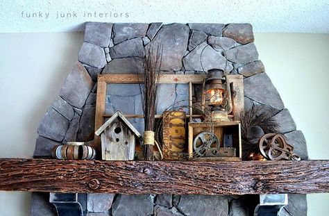 loving this mantel decor created from 'junk' via Funky Junk Interiors! I can totally see this in my living room! Funky Junk Interiors, Rustic Mantle, Rustic Decor, Rustic Charm, My Living Room, Vintage Decor, Antique Decor, Vintage Frames, Bird Houses