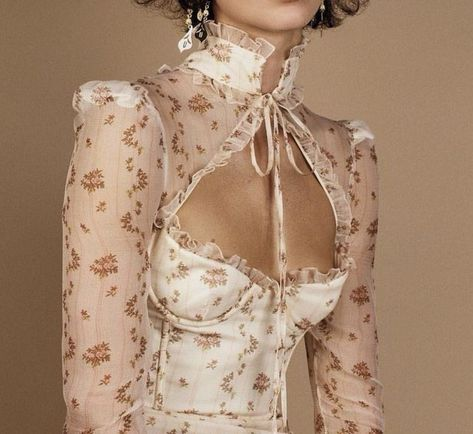 f l o r a l y s ᘛ chemisier blouse transparent floral col noeud allure style look trend tendance inspiration spring summer