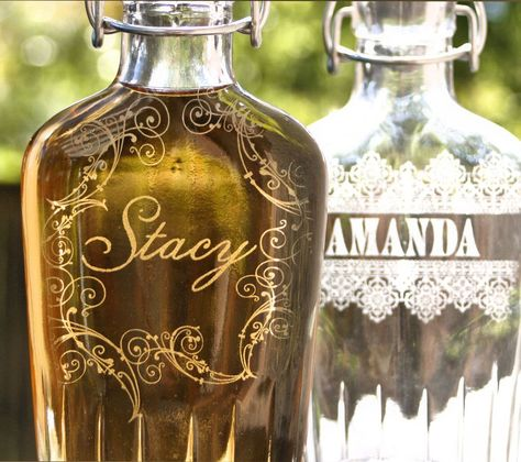 personalized laser etched glass ladies flask 8oz w swing top rubber seal best friend christmas gift for her unique gift sister gift by scissormill