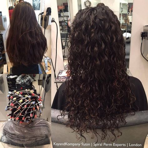 Romancing the curl for Christmas! 🎄 Long hair spiral perm by Lauren @ KayandKompany Salon - Olaplex was added for ultimate hair condition. Long Perm, Spiral Perm Long Hair, Spiral Perms, Perms Before And After, Types Of Perms, Medium Hair Styles, Curly Hair Styles, Perm Curls, Curly Perm