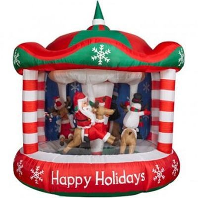 Gemmy Animated Christmas Characters Riding Carousel Airblown Outdoor Display New | eBay