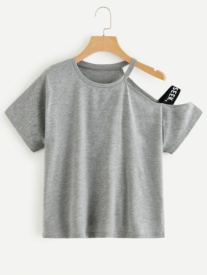 6d7aaf0050 Asymmetrical Neck Letter Taped Side Tee in 2019 | Colorful Tops|Two ...
