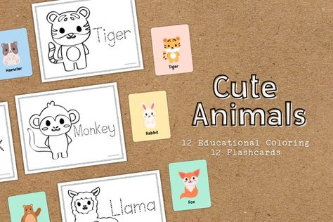 Cute Animals Coloring Educational Worksheets and Flashcards