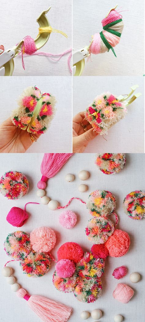 #DIY #pompoms with flowers!