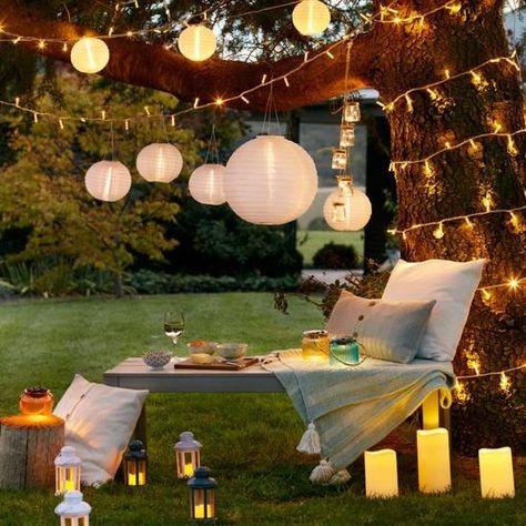 Lot de 9 Lampions Solaires Chinois Blancs à LED pour Jardin ...