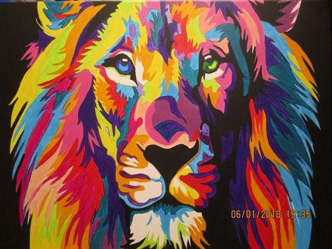 Tete De Lion Pop Art Pas A Pas Domi Dessins Et Peintures Tete