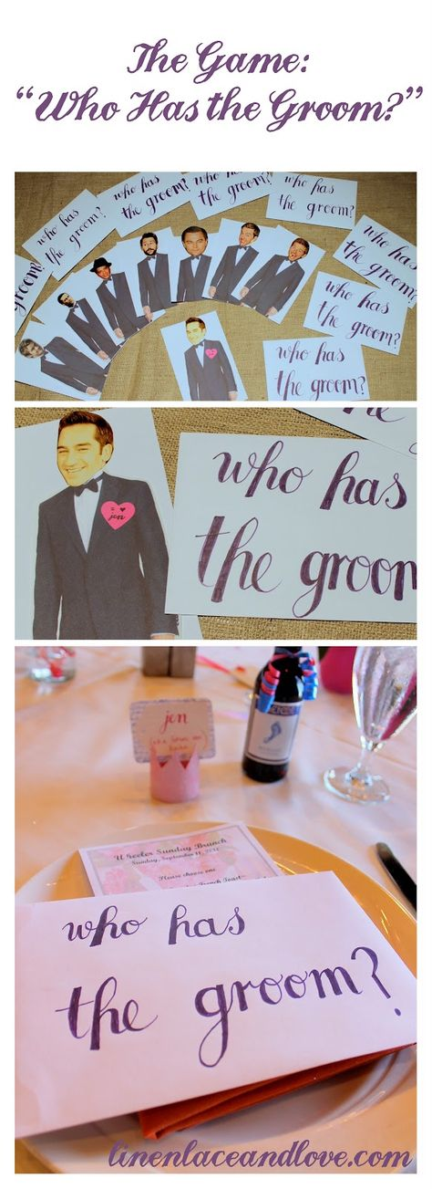 """Who Has the Groom? it's basically a raffle game. You print out a tux pic, cut out pictures of stars and put one of the groom (with a heart saying """"i love brides name""""). mix them up and give them to your guests. When it is time have everyone open at once and whomever gets the groom wins a prize!"""