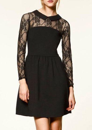 Black Vintage Hollow Lace Dress