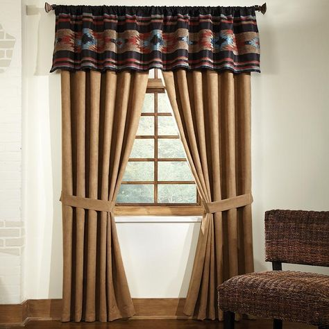 Give Your Windows A Southwestern Feel With The Veratex Santa Fe 50 X 17 Tailored Rod Pocket Valance Earthy De Panel Curtains Curtains Bedding Basics