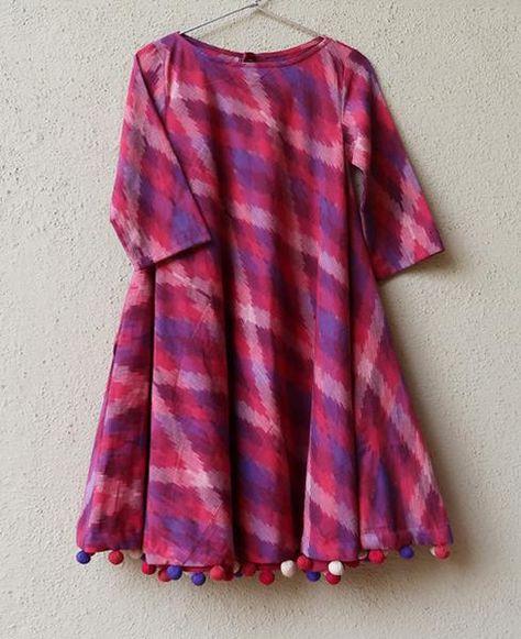 Handwoven Ikat Swing Dress with Handmade Pompoms