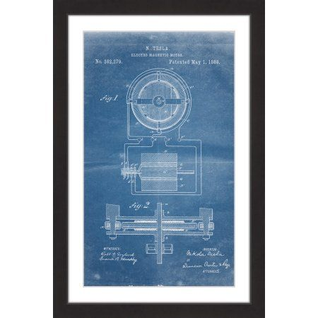 Tesla motor 1888 blueprint framed painting print size 30 inch x 45 tesla motor 1888 blueprint framed painting print size 30 inch x 45 inch multicolor tesla motors walmart and products malvernweather Images