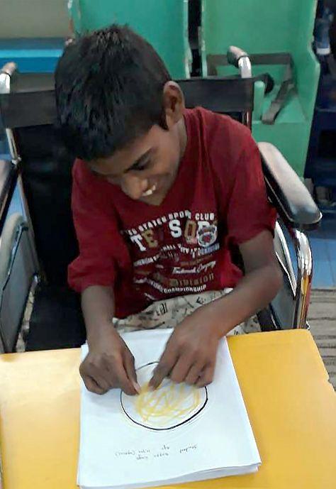 Bappa At Reach School Drawing Circles Myshuktara Kolkata