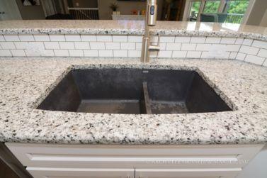 Black Speckled White Granite With Contrasting Blanco Silgranit Anthracite Black Kitchen Sink Granite Countertops White Granite Kitchen Sink Design