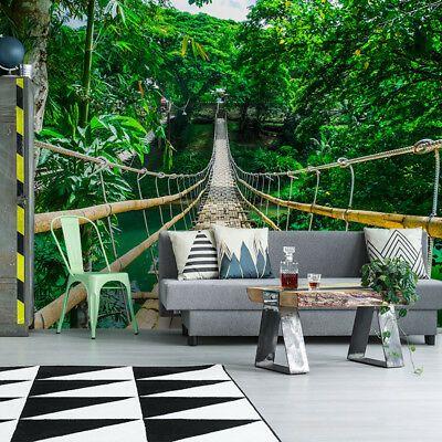 Vlies Fototapete Wandtapete Tapete Wandbild Seilbrucke Baum Dschungel Natur 3d Fototapete Tapeten Wandbilder Tapeten