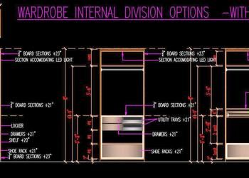 Wardrobe Internal Partition Design Free Dwg Detail Plan And Elevation Wooden Wardrobe Design Partition Design Cupboard Design