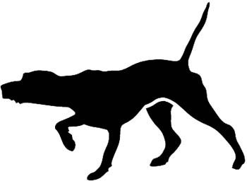 Pointer Hunting Dog Pointing With Nose Silhouette Vinyl Decal - Sporting dog decals