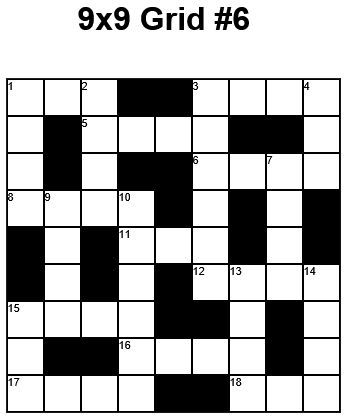 9x9 Easy Crossword puzzle grid 6 puzzle 22 Cross Word Puzzles - blank crossword template