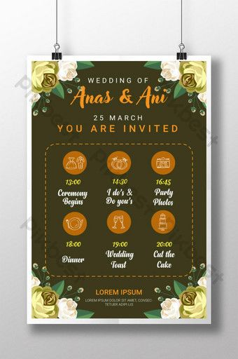 Vintage Creative Wedding Itinerary And Timeline Poster Template Design Ai Free Download Pikbest Poster Template Design Template Design Poster Template