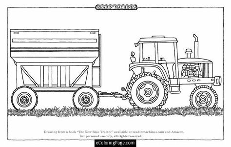 Tractor And Trailer Printable Coloring Page Farm Coloring Pages Tractor Coloring Pages Coloring Books