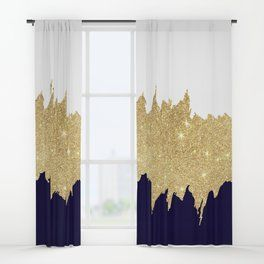 Modern Navy Blue White Faux Gold Glitter Brushstrokes Window Curtains Blue Living Room Decor Blue And Gold Bedroom Pink Bedroom Decor
