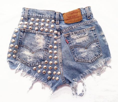 Distressed studded cut off shorts