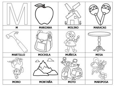 Laminas Con Dibujos Para Aprender Palabras Y Colorear Con Letra M