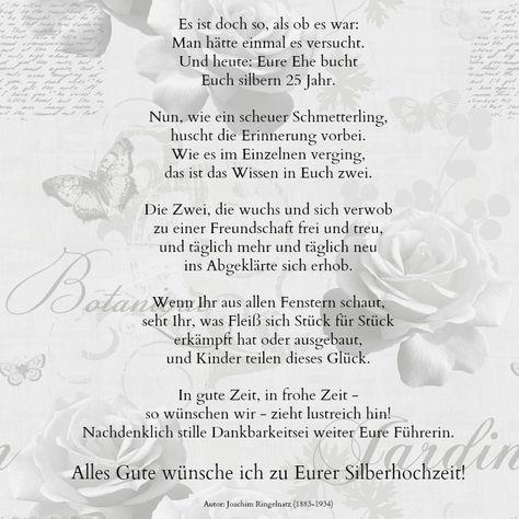 Sprüche Silberhochzeit Glückwünsche Ringelnatz Gedicht 25