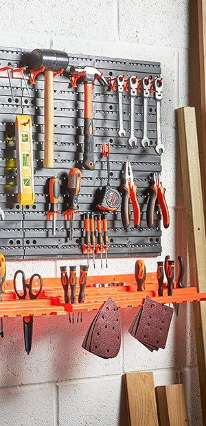 Workshop or Garage Includes 50 Assorted Hooks VonHaus Garage Wall Tool Rack Pegboard Shelf Tool Organiser//Holder Ideal for Home Shed Wall-Mounted//Fixed