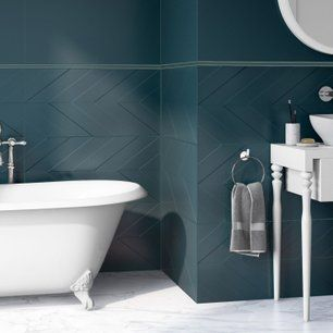 Faience Mur Bleu Decor Home Chevron Mat L 40 X L 80 Cm Idee