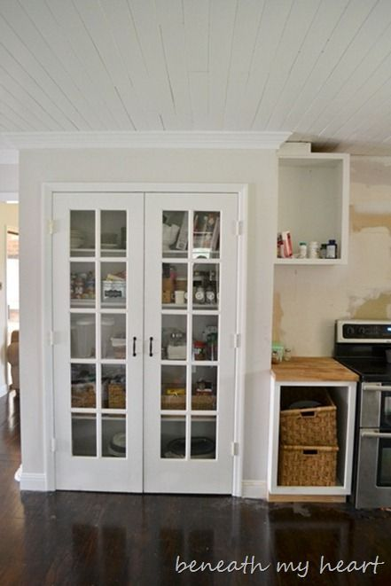 Image Result For White Beadboard Pantry With Full Size French Doors Kitchen Pantry Doors Pantry Design Built In Pantry