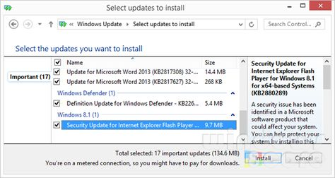 Microsoft updates the Flash Player for IE of Windows 8/8.1 to fix vulnerability