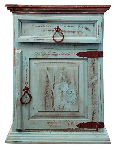 Handscrape Rustic Western Country Nightstand End Table Already Assembled Right Hinged Aqua Rustic Furniture Rustic Country Furniture Country Farmhouse Decor