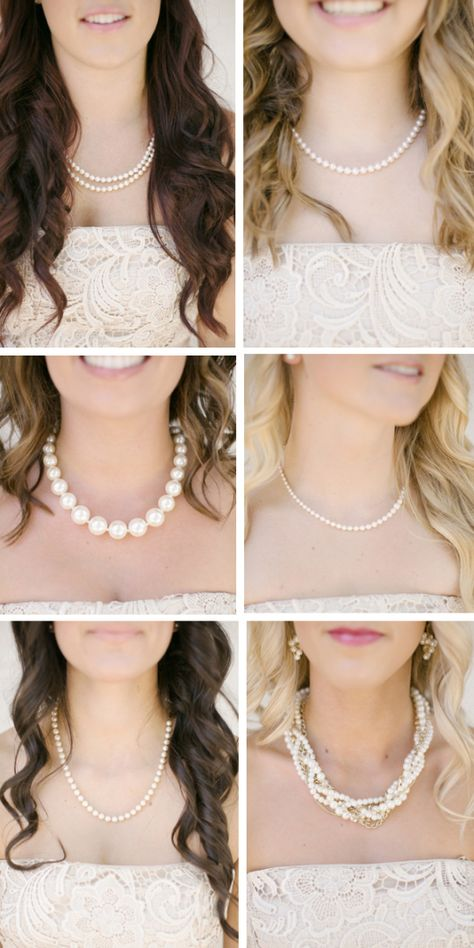 love the idea of bridesmaids wearing different pearls.