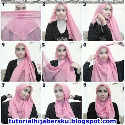 Tutorial Hijab Segi Empat Simple Tanpa Ciput Untuk Wajah Bulat Kursus Hijab Hijab Model Pakaian Hijab