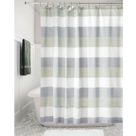 Home Striped Shower Curtains Fabric Shower Curtains Gray